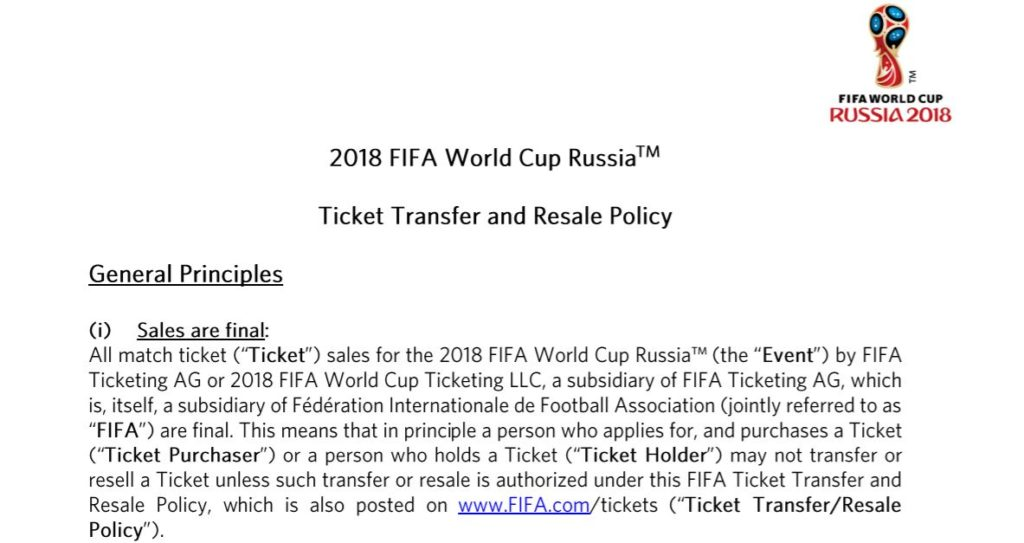 fifa world cup 2018 ticket transfer and resale policy - football ticketing - onebox