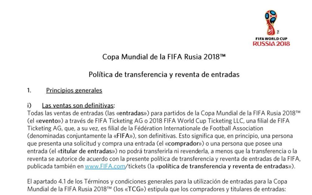 política de transferencia y reventa de entradas - copa mundial 2018 - venta de entradas de fútbol - onebox